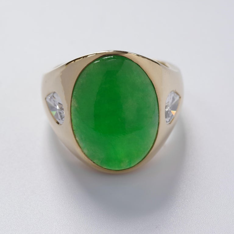 Women's or Men's Jade Ring with Diamonds circa 1965 GIA Certified Untreated For Sale