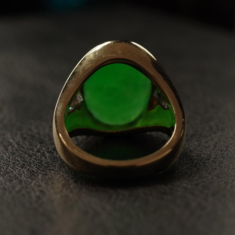 Jade Ring with Diamonds circa 1965 GIA Certified Untreated For Sale 2