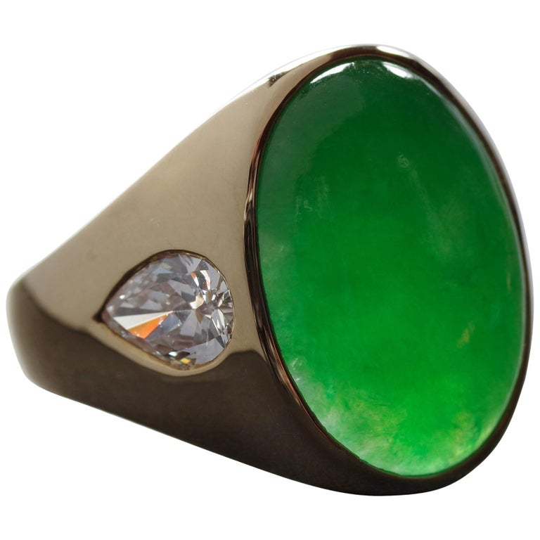 Jade Ring with Diamonds circa 1965 GIA Certified Untreated For Sale