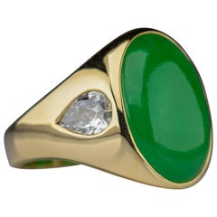 Jade Ring with Diamonds is Midcentury Masterpiece