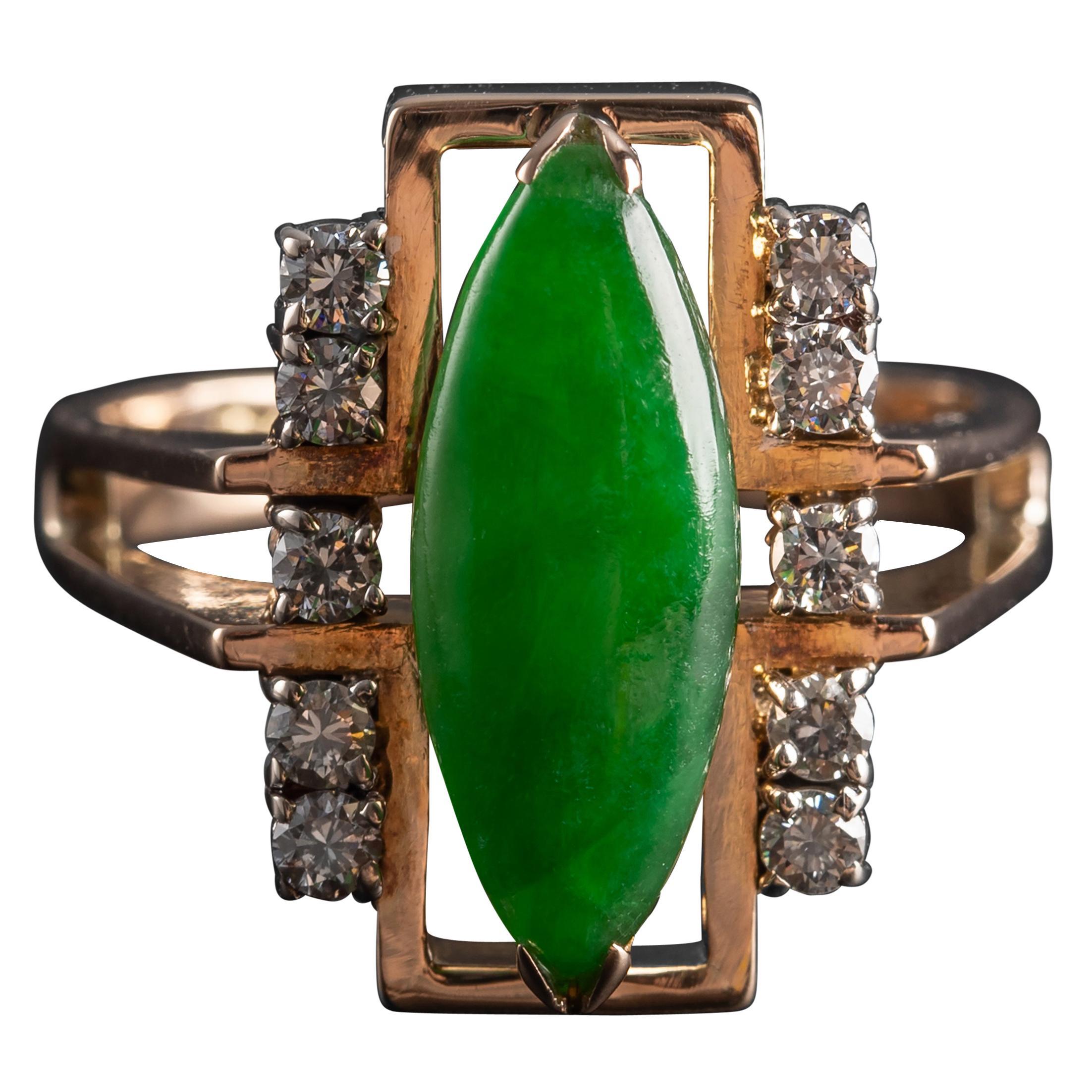 Jade Ring with Diamonds Retro Certified Untreated