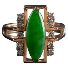 Jade Ring with Diamonds Retro Certified Untreated