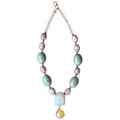 Jade Rose Opal Amber 18 Karat Gold Necklace
