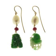 Jade Rubies Freshwater Pearls 9 Karat Rose Gold Dangle Earrings Handcrafted