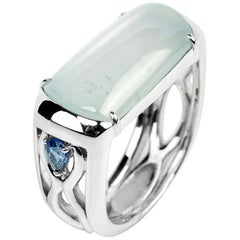 Jade Saddle Ring Semi-Transparent Architectural Setting with Sapphires Certified