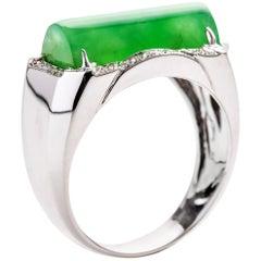 Jade Saddle Ring with Diamonds Certified Untreated Burmese Jadeite