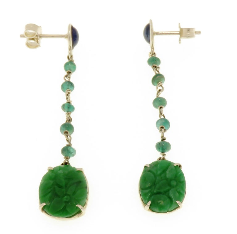 Contemporary Jade Sapphires Emeralds 9 Karat White Gold Dangle Earrings Handcrafted in Italy For Sale