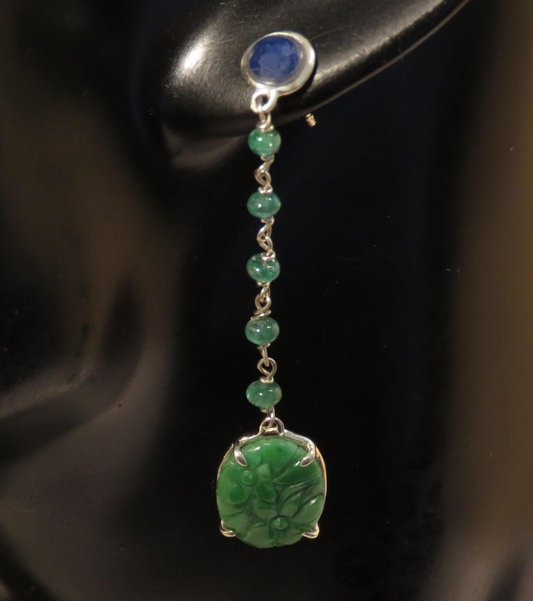 Women's Jade Sapphires Emeralds 9 Karat White Gold Dangle Earrings Handcrafted in Italy For Sale