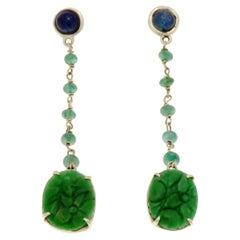 Jade Sapphires Emeralds 9 Karat White Gold Dangle Earrings Handcrafted in Italy