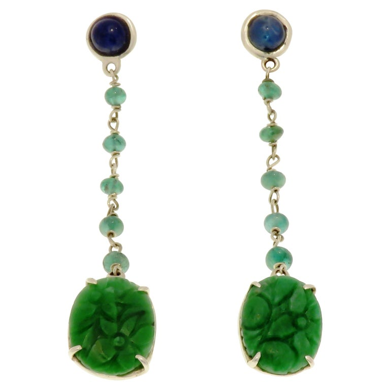 Jade Sapphires Emeralds 9 Karat White Gold Dangle Earrings Handcrafted in Italy For Sale