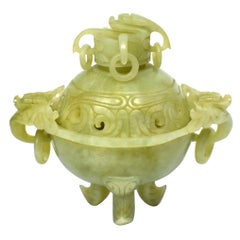 Jade Serpentine Incense Burner