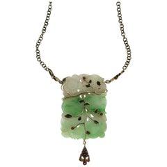 Jade Silver and 9 karat Yellow Gold Drop Necklace