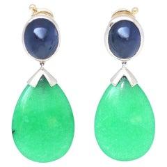 Jade Star Sapphire Cabochon Earrings 18 Karat Gold, 1990