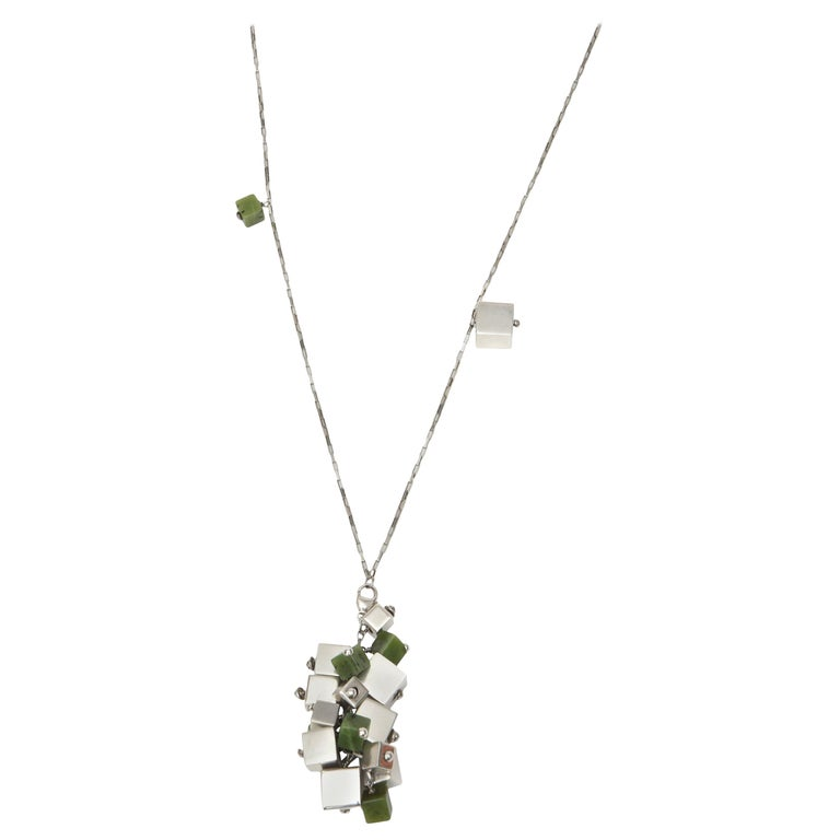 Jade & Sterling Silver Dangle Sculptural  Cluster Necklace Signed For Sale