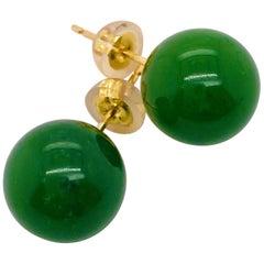 Jade Stud Earrings, 18 Karat Yellow Gold, Green Jadeite Jade Earrings, Green
