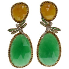 Jade, Tsavorite and Diamonds Dragonfly Earrings