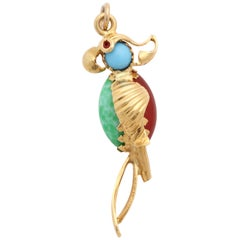 Jade, Turquoise, Carnelian with Red Enamel Eyes Whimsical Gold Parrot Charm