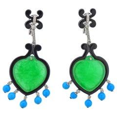 Jade Turquoise Onyx Diamond Gold Earrings