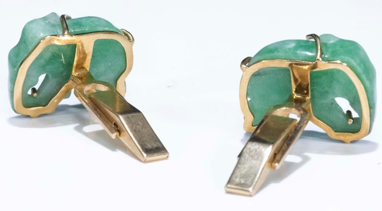 Jade Vintage Carved Green and Gold Elephant Good Luck Cufflinks For Sale 5