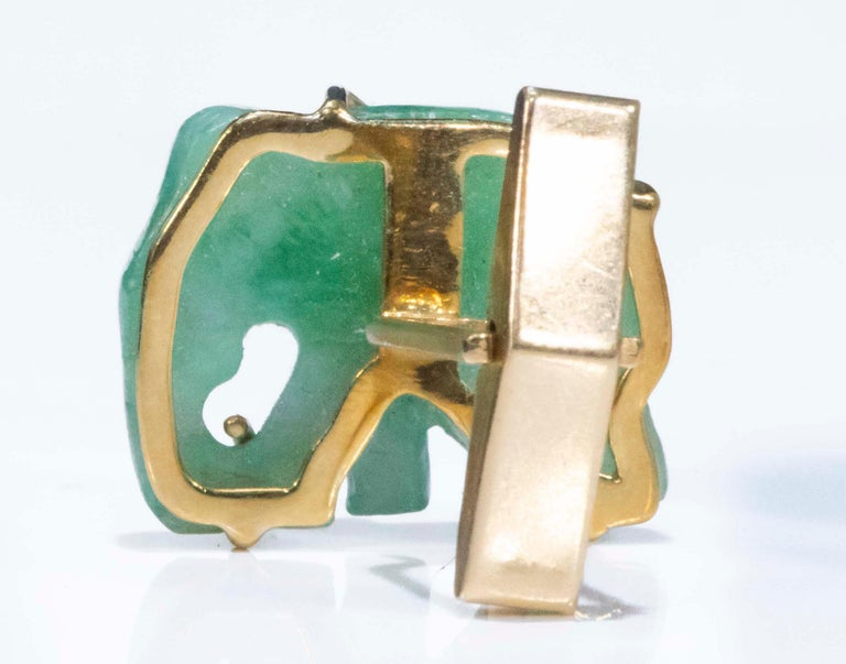 Jade Vintage Carved Green and Gold Elephant Good Luck Cufflinks For Sale 6
