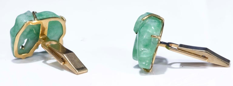 Jade Vintage Carved Green and Gold Elephant Good Luck Cufflinks For Sale 7