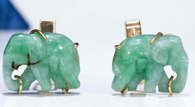 Art Deco Jade Vintage Carved Green and Gold Elephant Good Luck Cufflinks For Sale