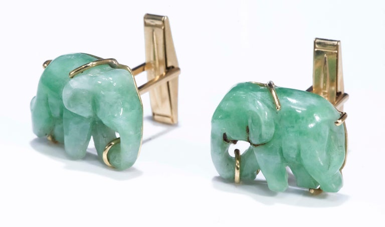 Women's or Men's Jade Vintage Carved Green and Gold Elephant Good Luck Cufflinks For Sale