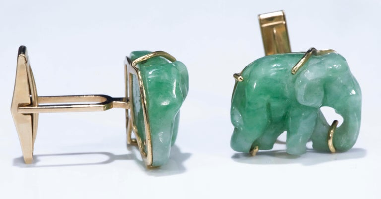 Jade Vintage Carved Green and Gold Elephant Good Luck Cufflinks For Sale 2