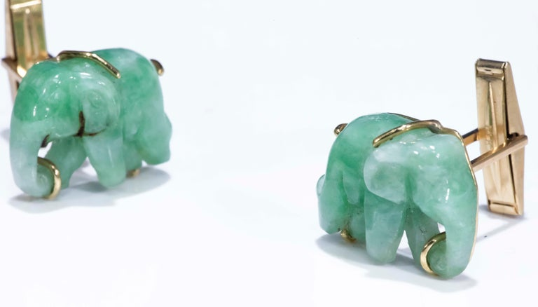 Jade Vintage Carved Green and Gold Elephant Good Luck Cufflinks For Sale 4