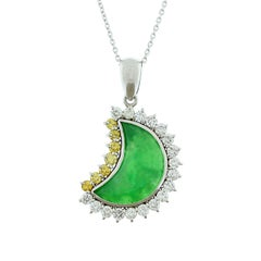 Jade White and Yellow Diamond Platinum Moon Pendant