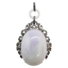 Jade with Black Diamond and Diamond Pendant/ Brooch Set in 18 Karat White Gold