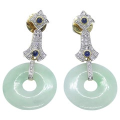 Jade with Blue Sapphire and Diamond Earrings Set in 18 Karat Gold Settings