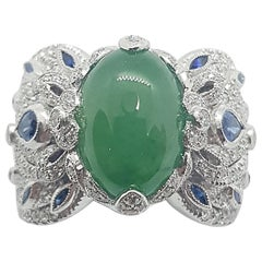 Jade with Blue Sapphire and Diamond Ring Set in 18 Karat White Gold Settings