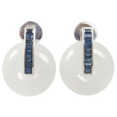 Jade with Blue Sapphire Earrings Set in 18 Karat White Gold Settings
