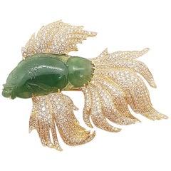 Jade with Brown Diamond Siamese Fighting Fish Brooch in 18 Karat Gold Settings