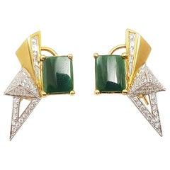 Jade with Diamond Kavant & Sharart Origami Earrings Set in 18 Karat Gold