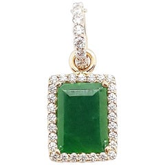 Jade with Diamond Pendant Set in 18 Karat Rose Gold Settings