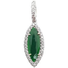 Jade with Diamond Pendant Set in 18 Karat White Gold Settings
