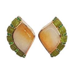 Jade with Peridot and Tsavorite Earrings Set in 18 Karat Rose Gold Settings