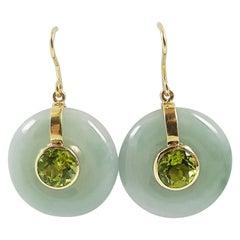 Jade with Peridot Earrings Set in 18 Karat Gold Settings