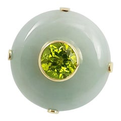 Jade with Peridot Ring Set in 18 Karat Gold Settings