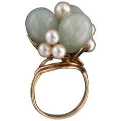 Jade 14 Karat Yellow Gold Pearls Cocktail Ring