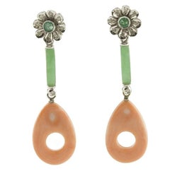 Jade Emerald Diamonds Coral White Gold Flower Earrings