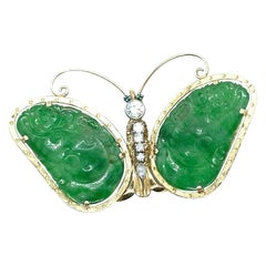 Jadeite and Diamond Butterfly Pin or Brooch Platinum and Yellow Gold
