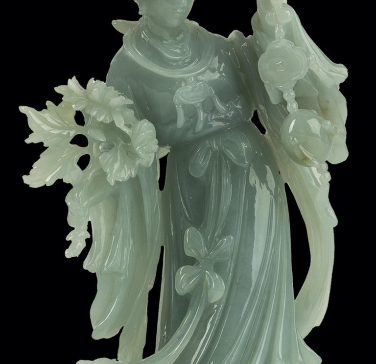 Carved Jadeite Carving of a Standing Lady, China, 20th Century For Sale