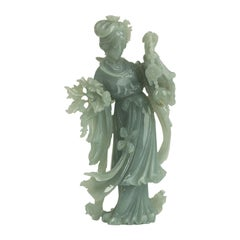 Jadeite Carving of a Standing Lady, China, 20th Century