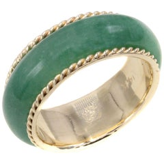 Jadeite Gold 1950s Band Ring
