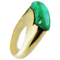 Jadeite Green Jade Dome Ring 14 Karat Yellow Gold