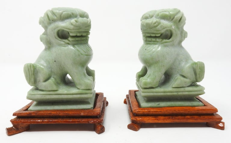 Chinese Jadeite Guardian Foo Dogs, Mid-20th Century For Sale