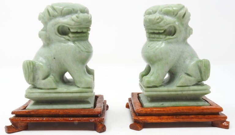Hand-Carved Jadeite Guardian Foo Dogs, Mid-20th Century For Sale